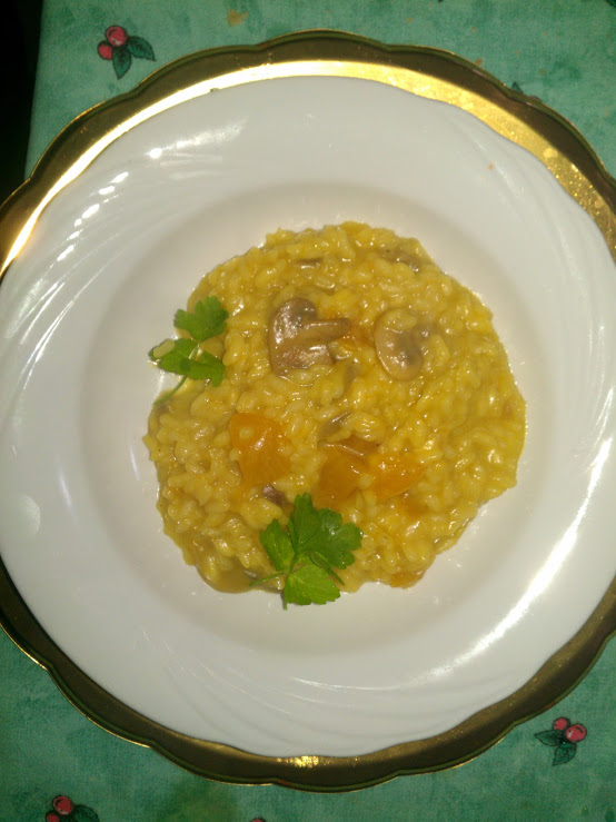 Ricetta risotto con zucca e champignons