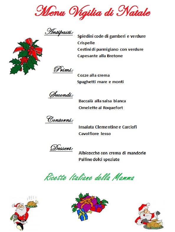 Menu Della Vigilia Di Natale.Ricette Menu Vigilia Di Natale Ricette Italiane Della Mamma