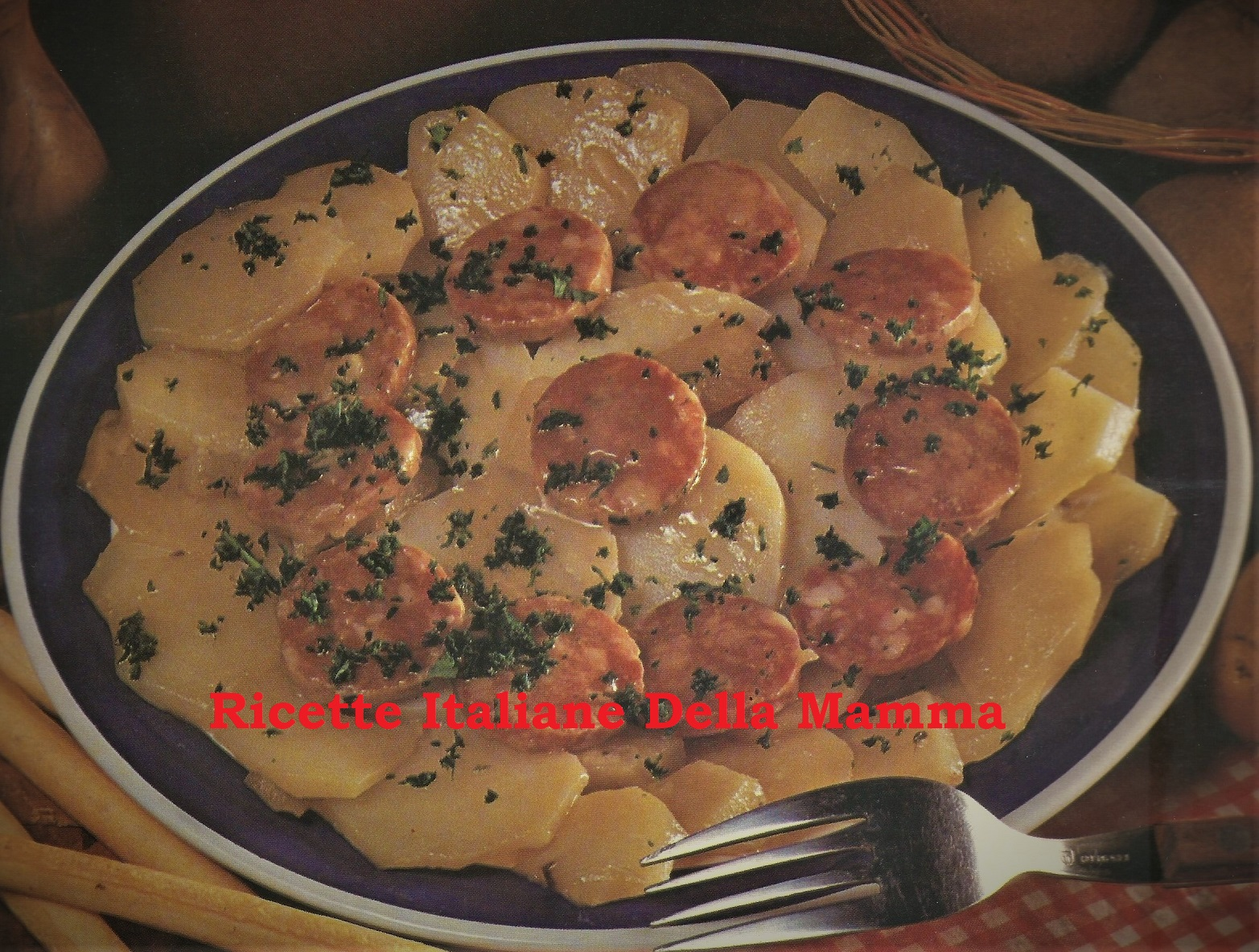 Patate con salame calabese